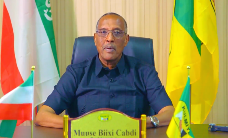 The National Electoral Commission declares Muse Behi Abdi, the presidential candidate of the ruling part, as the winner of 13 November election