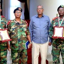 President Muse Behi honours army officers